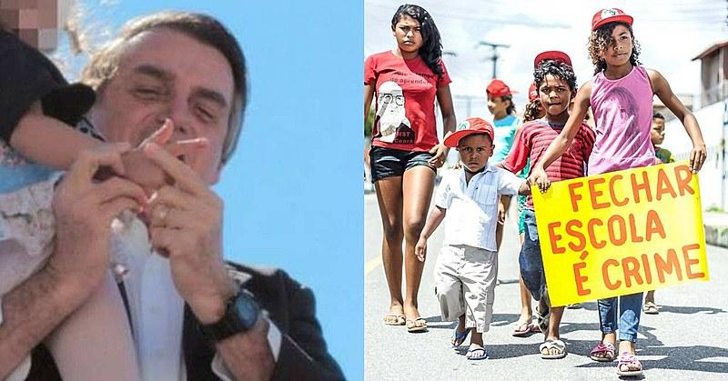 Bolsonaro força mão de criança para fazer arminha e crianças protestam contra fechamento de escola: qual causou mais escândalo para Record?