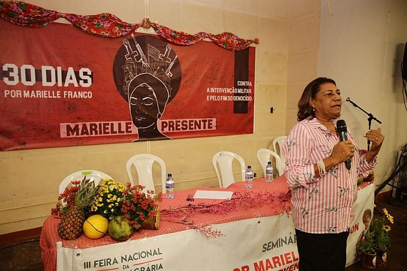 Mãe de Marielle participou de seminário durante a Feira Nacional da Reforma Agrária