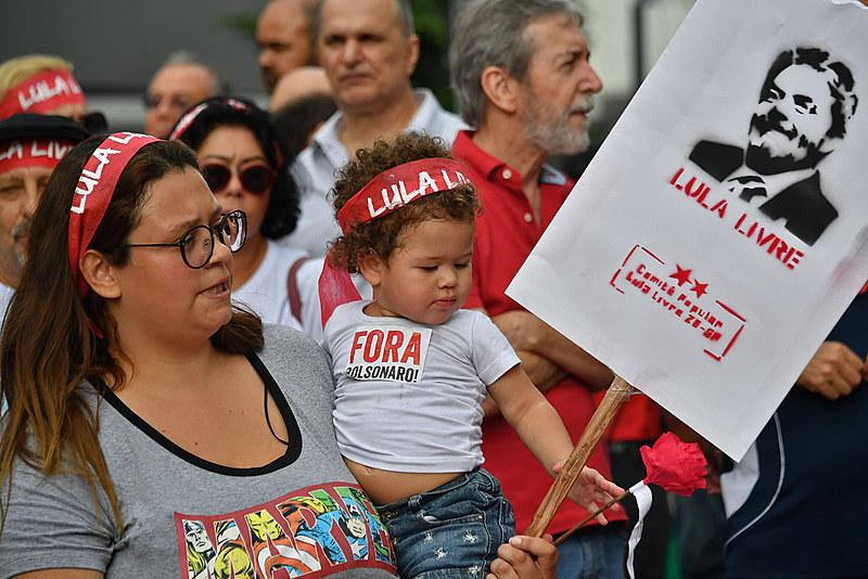 Manifestação na Avenida Paulista por Lula Livre, no dia 7 de abril de 2019, data que marcou um ano da prisão do ex-presidente
