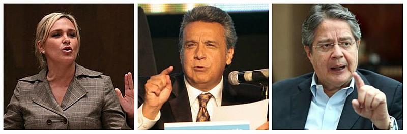 Da esquerda para direita, os candidatos Cynthia Viteri, Lenin Moreno e  Guillermo Lasso