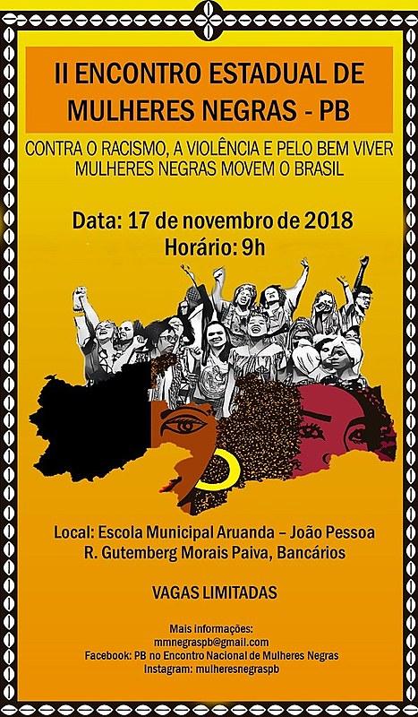 Card de divulgação do II Encontro Estadual de Mulheres Negras na Paraíba