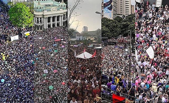 Actos masivos acontecieron en Belo Horizonte, Rio de Janeiro, Porto Alegre, Curitiba, Recife y São Paulo