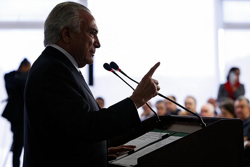 Michel Temer na cerimônia de lançamento do Novo FIES, no último dia 6