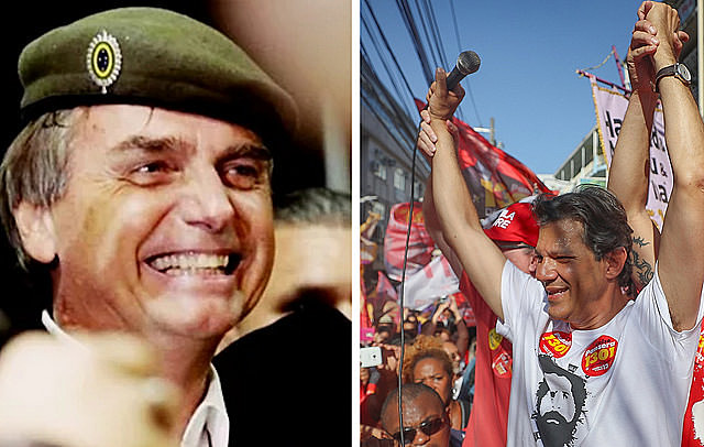 Jair Bolsonaro (PSL) e Fernando Haddad (PT) devem disputar segundo turno no dia 28 de outubro