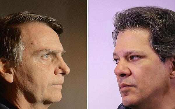 El candidato ultraderechista Jair Bolsonaro y Fernando Haddad, del Partido de los Trabajadores (PT) disputan las elecciones presidenciales