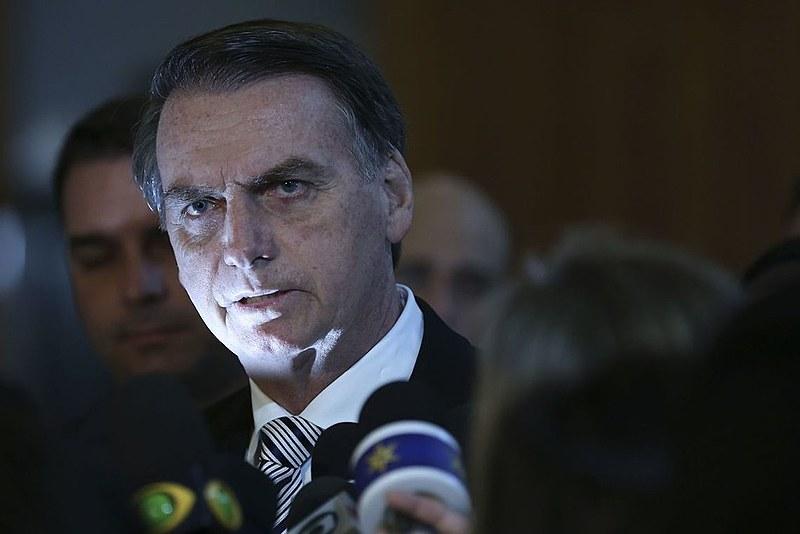 Jair Bolsonaro (PSL), presidente da República, durante coletiva de imprensa