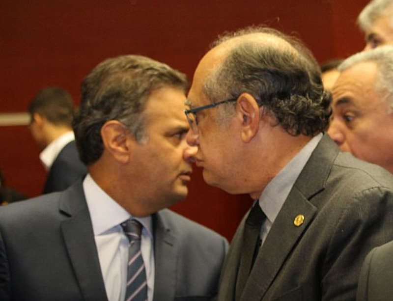 Senador tucano Aécio Neves e o ministro do STF Gilmar Mendes