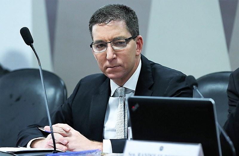 O jornalista Glenn Greenwald durante depoimento no Senado em julho
