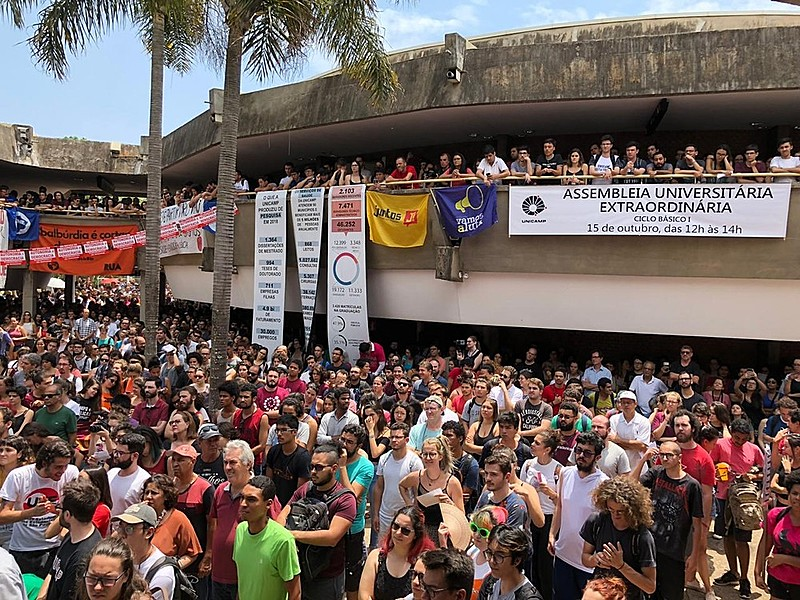 Assembleia extraordinária da Unicamp aconteceu no Ciclo Básico do campus de Campinas (SP)