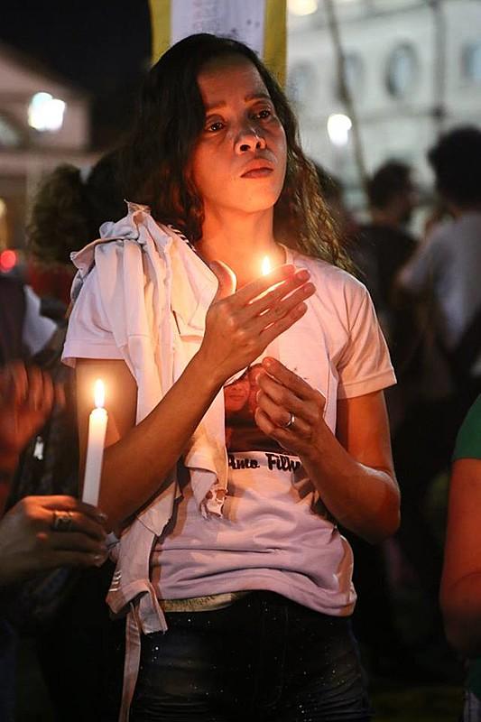 Bruna Silva, mãe do estudante Marcus Vinícius, de 14 anos, morto por policiais na favela da Maré, no Rio