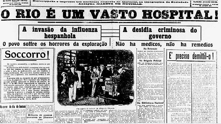 capa de jornal 1918 gripe espanhola