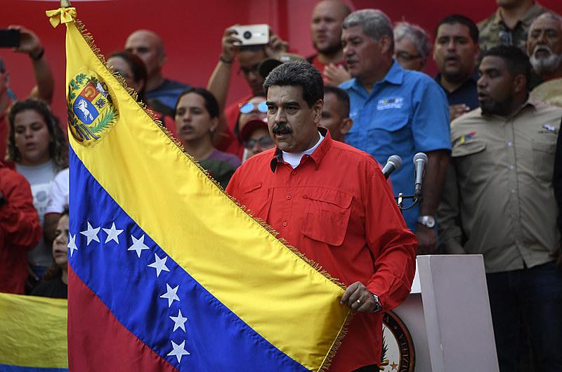 Presidente da Venezuela, Nicolás Maduro, durante 1º de Maio em Caracas