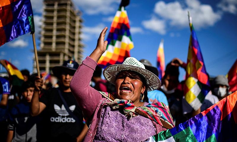Passeata na Bolívia contra a presidenta interina Jeanine Áñez