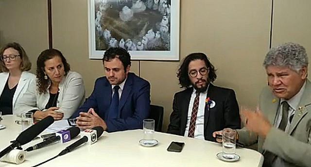 Conferencia de prensa de la Comisión Externa de la Cámara Federal que acompaña las indagaciones sobre la ejecución de Marielle Franco