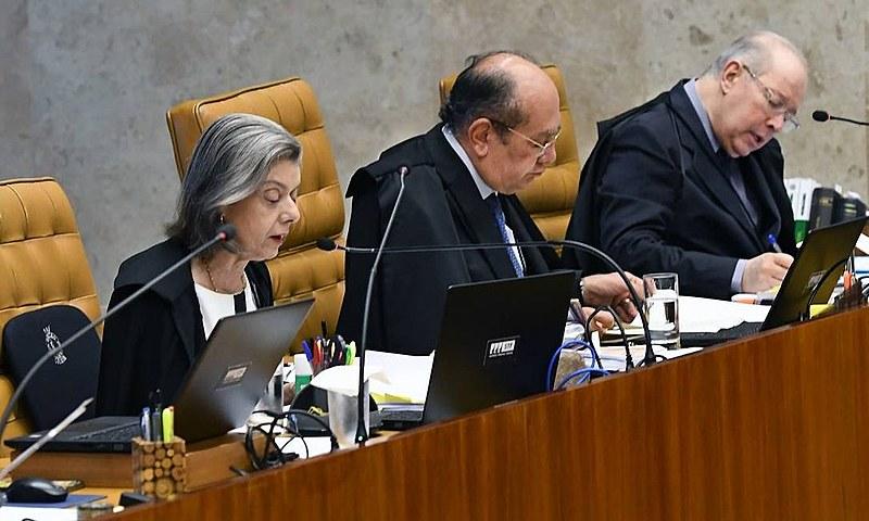 Ministros Cármen Lúcia, Gilmar Mendes e Celso de Mello no julgamento sobre prisão em segunda instância