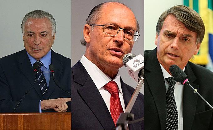 Atuais adversários no campo político-eleitoral, Ackmin (PSDB), Jair Bolsonaro (PSL-RJ) e Temer (MDB) têm pensamento político-econômico comum