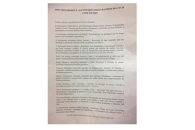 Foram citadas nominalmente 22 pessoas dos Departamentos de História e Sociologia da UFPE