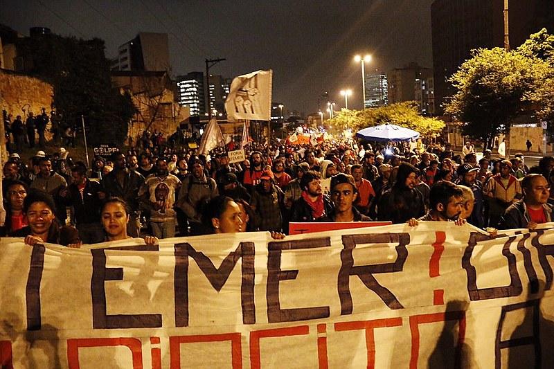 """Ato em São Paulo em setembro deste ano: """"Fora, Temer"""" foi a palavra de ordem do ano das entidades da Frente Brasil Popular"""
