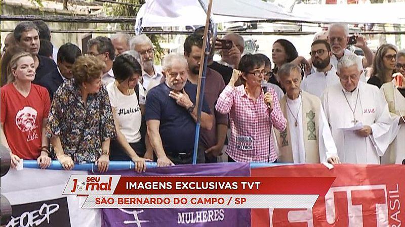 Em abril de 2018, TVT transmitiu com exclusividade discurso histórico de Lula no Sindicato dos Metalúrgicos do ABC