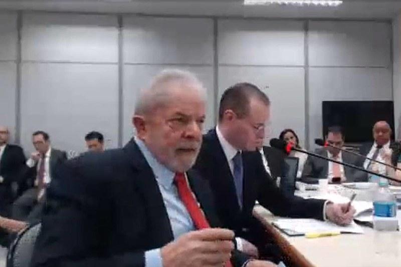 Ex-presidente Lula durante depoimento a juíza substituta, Gabriela Hardt, sobre o caso do ''Sítio de Atibaia''