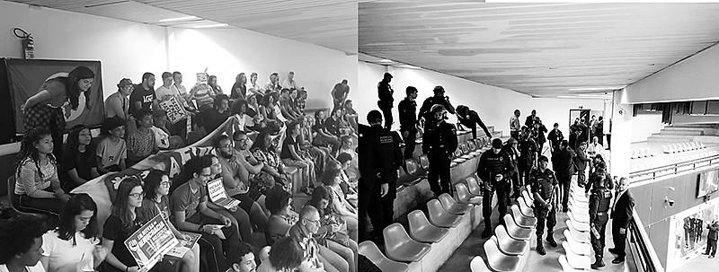 A pedido da presidenta da casa, cidadãos que acompanhavam debate foram retirados de forma agressiva
