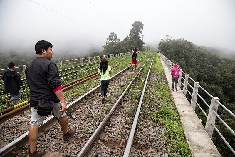 Indígenas caminham sobre a ferrovia e pedem reparação dos danos causados pela duplicação