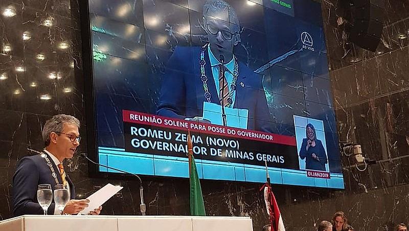 O empresário Romeu Zema (Novo) toma posse como governador de Minas Gerais