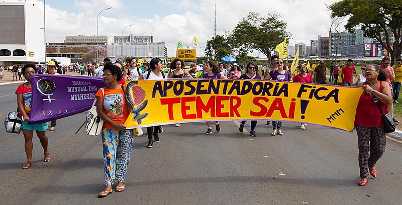 Manifestação na Esplanada dos Ministérios contra a reforma da Previdência e trabalhista, em 28 de abril