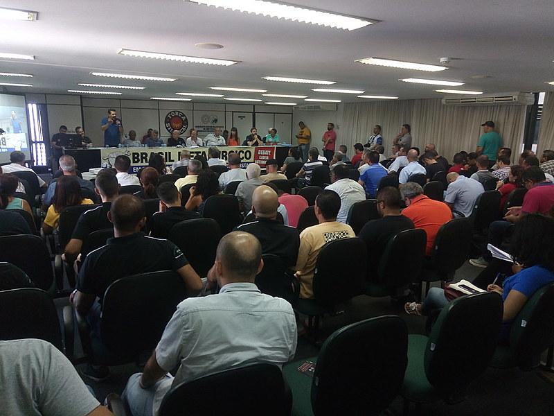 Metalúrgicos insatisfeitos com as propostas da montadora se reuniram no Palácio dos Trabalhadores, em São Paulo (SP)