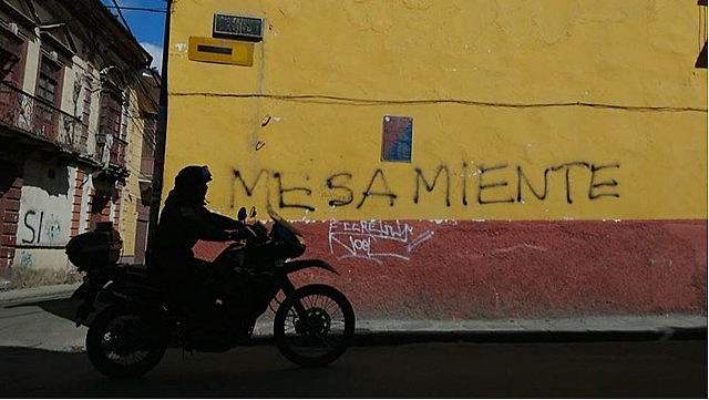 "Graffiti in downtown La Paz to against the opposition candidate Carlos Mesa reads ""Mesa lies"""