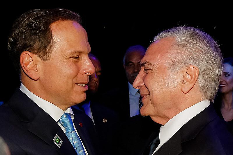 Presidente da República Michel Temer cumprimenta o Prefeito da Cidade de São Paulo, João Dória.