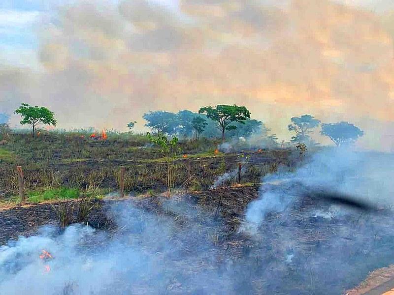 Queimada registrada em 26 de outubro na BR-155, em Eldorado do Carajás, no Pará; rodovia vai de Marabá a Redenção.