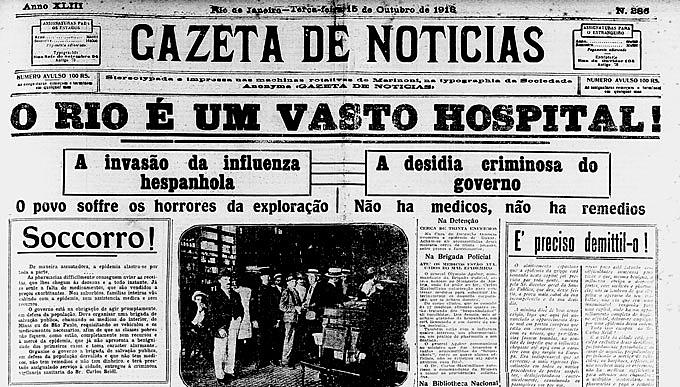 Jornal de 1918 com gripe espanhola