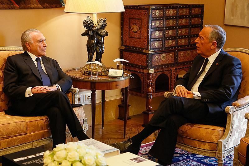 Presidente Michel Temer durante encontro com o Presidente da República Portuguesa, Marcelo Rebelo de Sousa