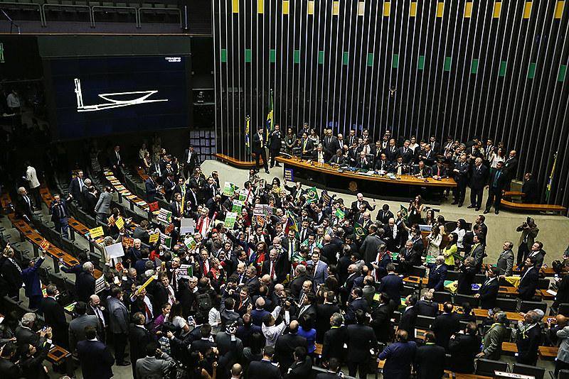 Votação do processo de impeachment da presidenta eleita Dilma Rousseff (PT) na Câmara dos Deputados em 2016