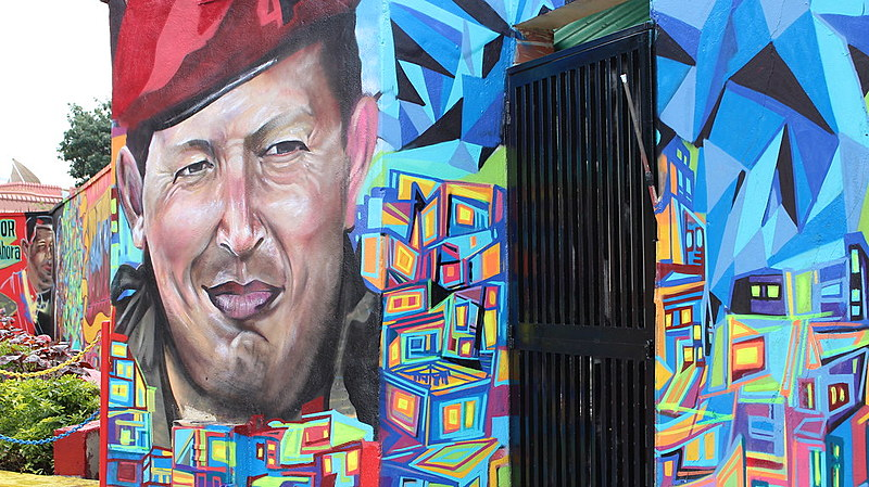 Muro no popular bairro 23 de Enero homenageia o ex-presidente