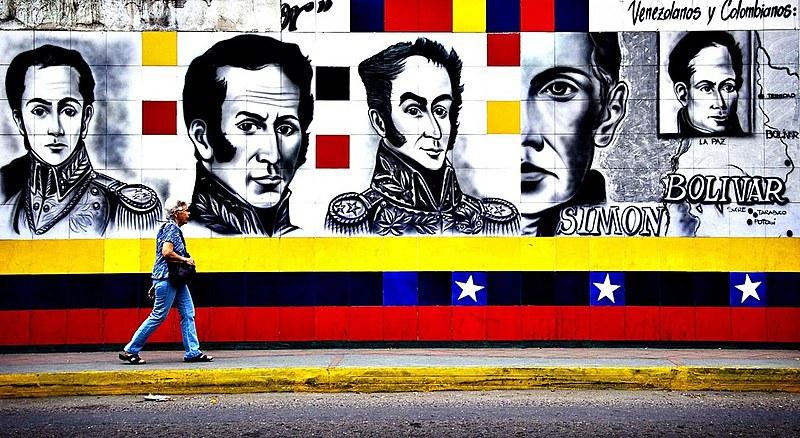 Mural do libertador Simón Bolivar em San Antonio, no estado de Tachira, Venezuela.