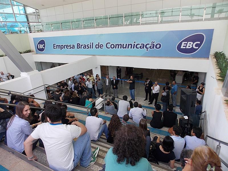 Entrada da sede da EBC, em Brasília