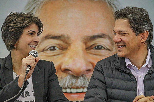 VP candidate Manuela D'Avila and running mate and presidential candidate Fernando Haddad