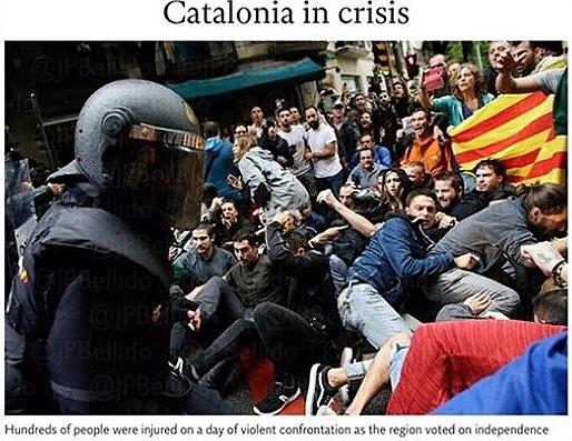 Portais e capas de dezenas de periódicos de diversos países do mundo repercutem as imagens das agressões nas ruas de Barcelona