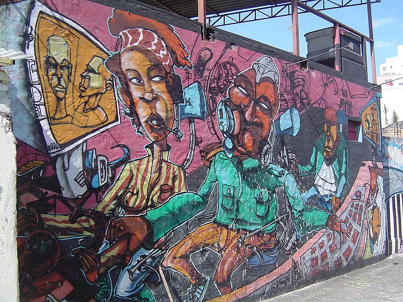 Um dos murais pintados por Niggaz em São Paulo (SP)
