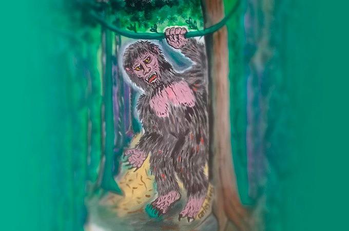 O Mapinguari é descrito como uma preguiça gigante, mas que não é lerda. Anda no chão, com seus mais de três metros de altura.