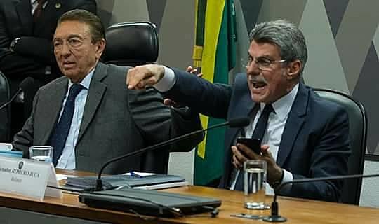 Edison Lobão (esq.), presidente da CJJ, e o relator na comissão, Romero Jucá (dir.), ambos do PMDB e com papel decisivo na aprovação