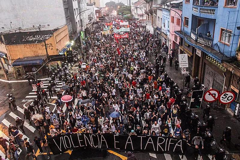 Manifestação contra o aumento da tarifa em São Paulo em 2016