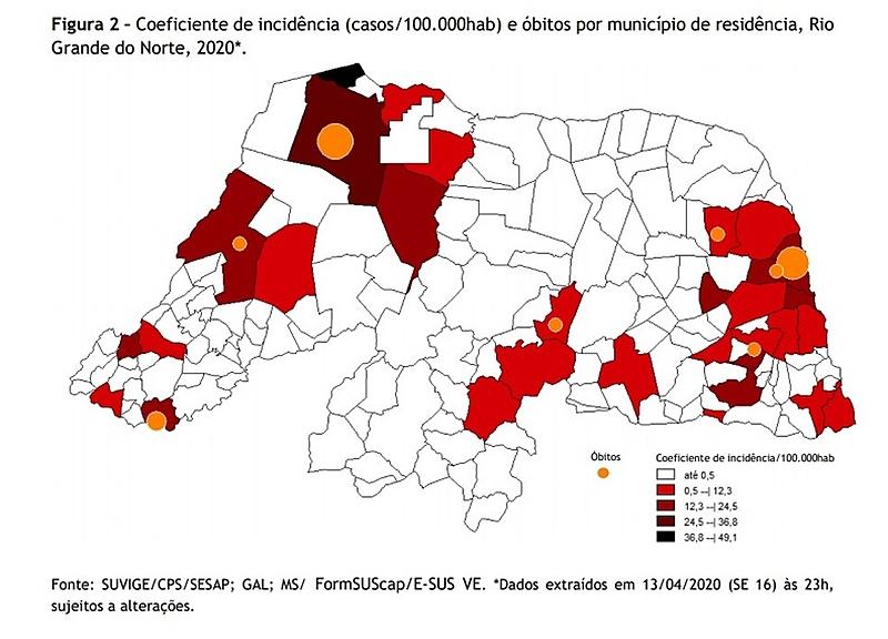 Mapa com taxa de coronavírus